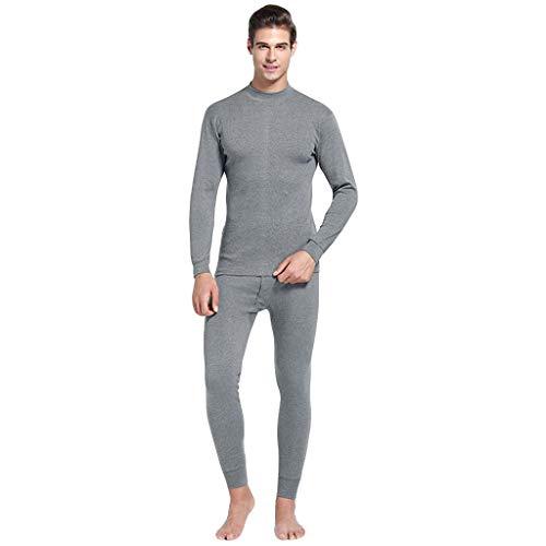 Pullover + Hose Thermo-Unterwäsche Set Herren Einfarbig Sweatshirts Top Bluse Lange Ärmel T-Shirt + Freizeithosen Pyjama Set Resplend