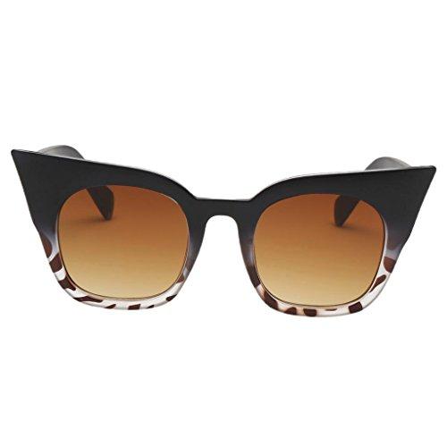 P Prettyia Katze Augen Gestell Brille Sonnenbrille Pilotenbrille Vintage Look 7 verschiedene Farben wählbar - Schwarzer Leopard Frame Gradient Tea Lens, wie beschrieben