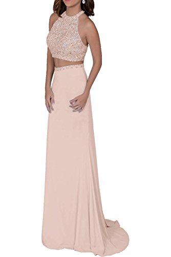 Milano Bride elegant Chiffon Getrennt Traeger Damen Abendkleider Cocktailkleider Partykleider Schleppe Neu Perlenrosa