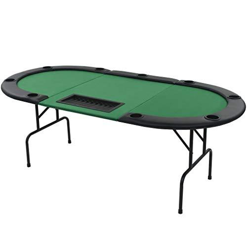 vidaXL Pokertisch 9-Spieler 3-Fach Klappbar Oval Grün Casino Poker Tisch - 2