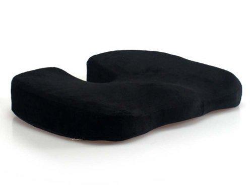 LoveHome Coccyx Sitzkissen Memory Foam für Rückenschmerzen, Tailbone Verletzung, Ischias, Hämorrhoiden, Becken Schmerzlinderung -Ideal Komfort Sitzpolster für Bürostühle, Liegesessel, Rollstuhl, Autositz (Schwarz) (Rollstuhl-keil-kissen)