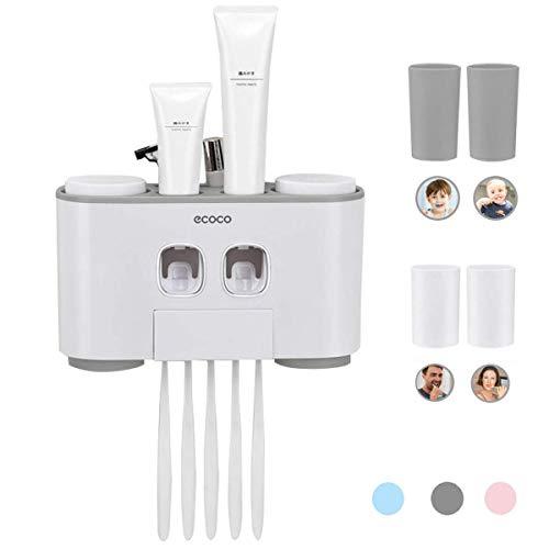 MHTECH Automatischer Zahnpastaspender Und Zahnbürstenhalter Enthält 2 Zahnpasta Squeezers ,4 Tassen,Kann 5 Zahnbürsten platzieren, Geeignet für alle Arten von Zahnbürsten den - Set mit Wand Montiert