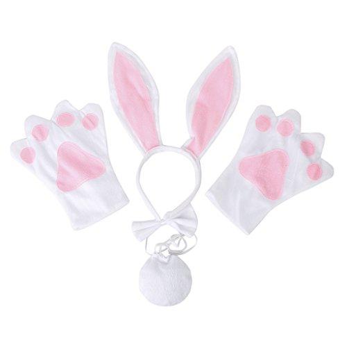 Nuovi Guanti Fascia Cosplay Coniglio Bianco Natale Di Halloween Vestito Costume Cravatta Set 4 Pezzi Di Coda