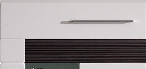 trendteam MZ94712 Wohnzimmerschrank Wohnwand Anbauwand weiss Hochglanz, Absetzungen Eiche Melinga dunkel Rillenstruktur, BxHxT 250x191x44 cm - 5