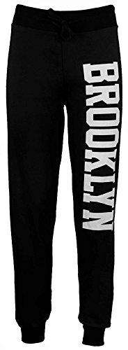 Jogginghose Damen Brooklyn Jogger Fitness Hose Trainingshose Unterteil Größe 36 bis 42 - Schwarz, M/L (40-42)