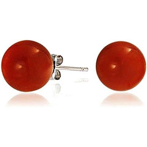 Bling Jewelry 925 Sterling Silver tonda corniola pietra preziosa sfera Studs 10 millimetri