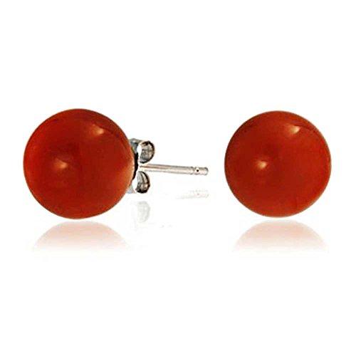 Rote Carneol Edelstein simulierten Coral runden Ball Stud für Frauen 925 Sterling Silber 10 MM