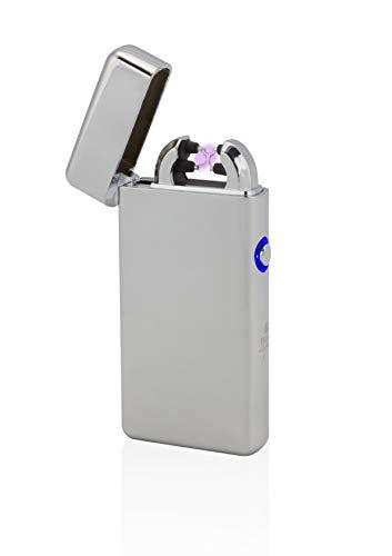 TESLA Lighter T08 Lichtbogen Feuerzeug, Plasma Double-Arc, elektronisch wiederaufladbar, aufladbar mit Strom per USB, ohne Gas und Benzin, mit Ladekabel, in Edler Geschenkverpackung, Silber