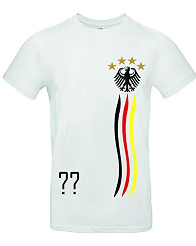 myfashionist Kinder T-Shirt Fußball Trikot WM/EM Deutschland Trikot in Verschiedene Grössen für Jungen und Mädchen mit Wunschname UND Wunschnummer WEIß (Weiß 134/146 Weiß)