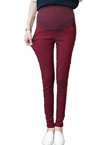 PU&PU Femme Grossesse Slim Chino Pantalon,simple Décontracté / Quotidien Couleur Pleine Taille Haute Elasticité Coton / Elasthanne , wine , xl