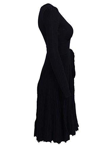 Simplee Apparel Damen Kleid Retro Elegant Langarm V-Ausschnitt Plissee Strickkleid Abendkleid Dress Schwarz