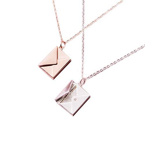 925 Sterling Silber Anhänger Halskette Damen Umschlag Liebhaber Buchstabe Anhänger Beste Geschenke für Freundin Einheitsgröße silberfarben