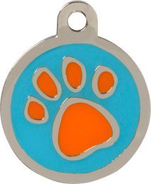 Bow Wow Meow Pet ID Tags - Personalised Engraved Orange Paw Print Blue Pet Tag - Medium - FREE shipping, dispatched within 24 hours, ENTER YOUR ENGRAVING INSTRUCTIONS AS A GIFT