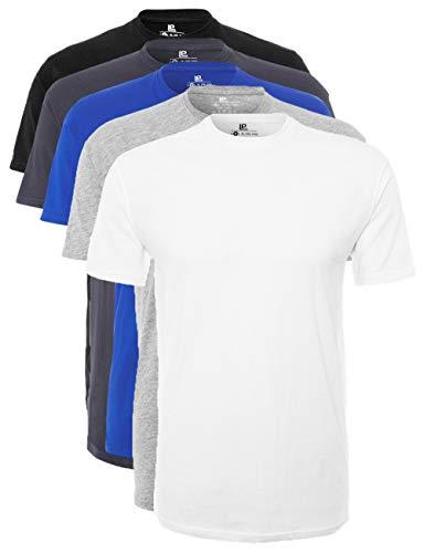 Lower East LE105 T-Shirt, Weiß/Grau Melange/Olympia Blau/Folkstone Grey/Schwarz, S, 5er-Pack