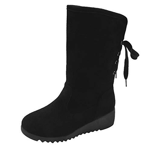 (MYMYG Damen Stiefeletten Martain Boot Frauen Wildleder Stiefel Keile Mittlere Schlauchstiefel Lässig Keep Warm Schuhe Schneeschuhe Chelsea Boots Winterstiefel)