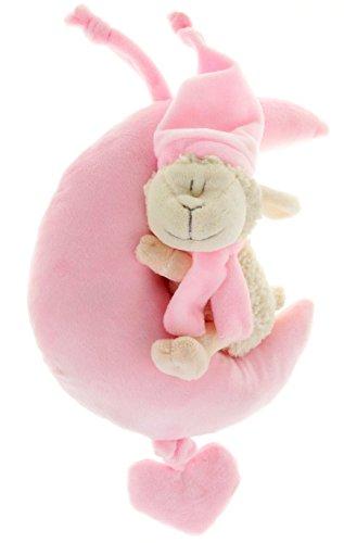 (Spieluhr Schäfchen im Mond 28 cm Baby Spieluhr mit Bändchen rosa)
