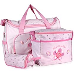 Set 4 kits Bolsa/Bolsillo/Bolso Maternal Rosado biberón carro carrito para Bebé