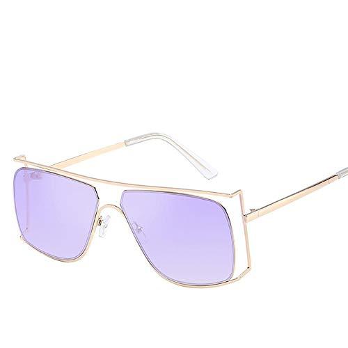 Drawihi Stilvolle Sonnenbrille unregelmäßige hohle Metall Polarisierte Sonnenbrillen Gläser Sportbrillen UV400 Schutzbrille Brille für Reise Sport im Freien(Lila Linse)
