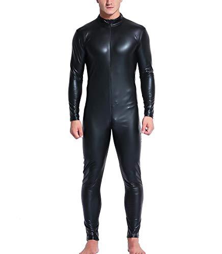 Männer Schwarz PVC Catsuit Langen Ärmeln Leder Jumpsuit Reißverschluss Bodysuit Kostüm Wetlook Clubwear