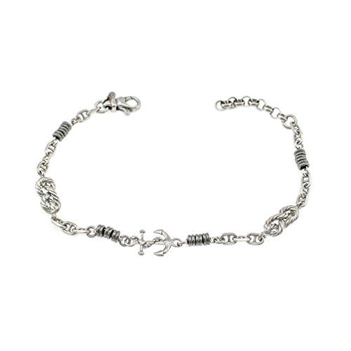 eemann seitliche, noch und Unterlegscheiben Ruthenium, Sterling Silber 925 (Seemann Knoten-armband)