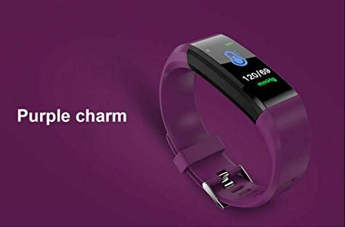yiwanlai PulseraInteligente 115PlusPresión Arterial Frecuencia Cardíaca Pantalla Deportiva Color Podómetro Reloj De Pulsera Frecuencia Cardíaca Verdadera Púrpura