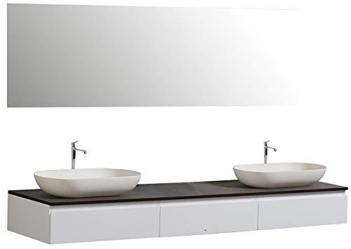 #Badmöbel Vision 1800 Weiß matt – Spiegel und Aufsatzwaschbecken optional, Spiegel:Ohne Spiegel, Zusätzl. Blende für Ablaufgarnitur:ohne zusätzl. Blende, Auswahl Waschbecken:Ohne Waschbecken#