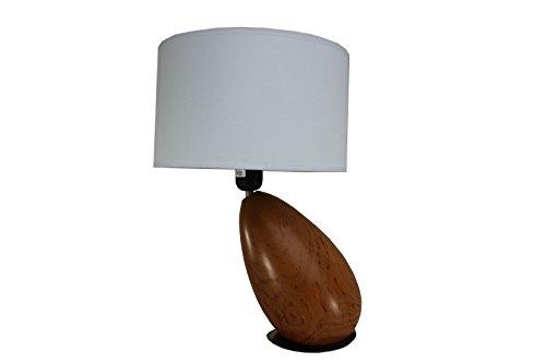 Zentrale Relief (§ § Tischleuchte Zeitgenössische. Fuß aus exotischem Holz massiv Form eines & # X153; UF Aspekt Kirschbaum auf eine Festplatte aus Nickel. Lampenschirm–Trommel aus Stoff weiß)