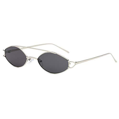 Shiduoli Sonnenbrille mit kleinem Rahmen Ovale Metallbrille Keine polarisierten Sonnenbrillen für Damen Herren (Color : D)