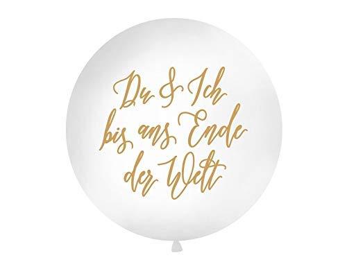 DaLoKu Hochzeit XXL Riesen Luftballon Ø 1m Hochzeitsluftballon, Farbe: Du und ich... weiß/Gold