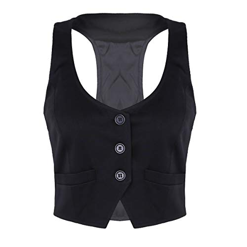 a1c6f9f3fc2322 Tiaobug Damen Weste Slim modern fit elegant Anzug Weste U Ausschnitt Büro  Gilet Solide Waistcoat ärmellos