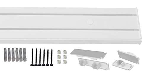 1-2- läufig Gardinenschiene Vorhangschiene Set Vorgebohrt mit Seitendeckel und Montagezubehör 200cm 2-läufig Gardinenschiene