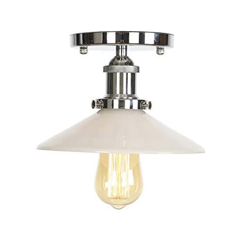 Edison Vintage Barn Light Moderne Retro Metallic Transparent Glas Decke Lampenschirm Dachgeschoss Cafe Küche Deckenleuchte (Keine Glühbirne) -
