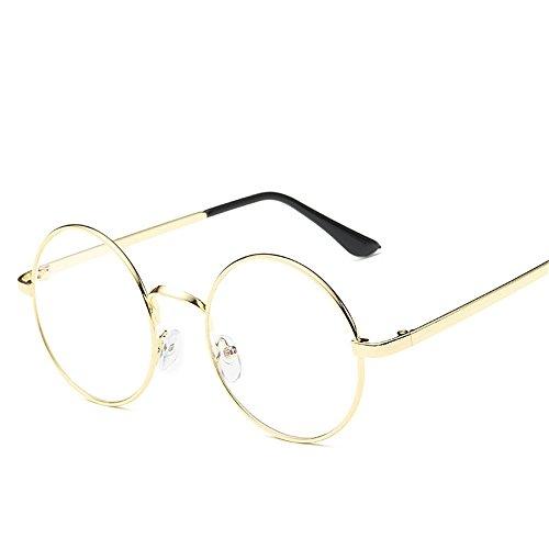 brillengestell Brillenfassungen Brillen Retro Anti-Strahlung blau flach rund golden