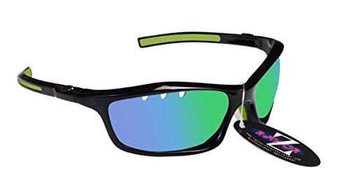 RayZor Professional leichte UV400schwarz Sports Wrap Hiking Sonnenbrille, mit einem belüfteten grün Iridium verspiegelt Blendfreie Objektiv