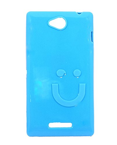 iCandy™ Imported Quality Soft TPU Smiley Back Cover For Sony Xperia C C2305 S39H - Turquoise  available at amazon for Rs.109