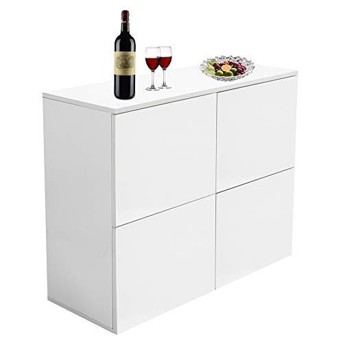 Estink Sideboard, Weiß Küchenschrank Kommode Schrank, Korpus in Hochglanz, aus MDF, 32 x 72x 92cm