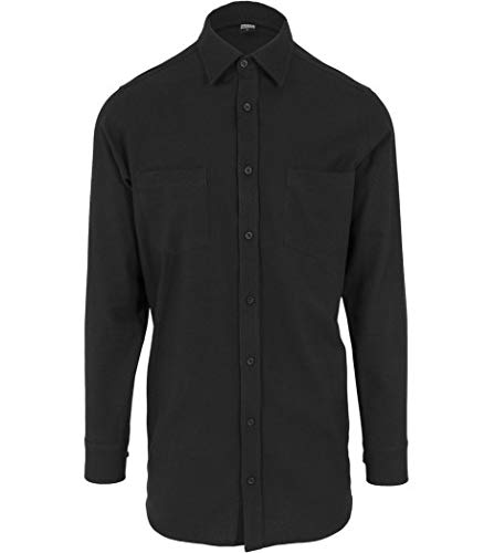 Urban Classics Side-Zip Long Checked Flanell Shirt Chemise Casual, Noir blk 00017, Medium Homme