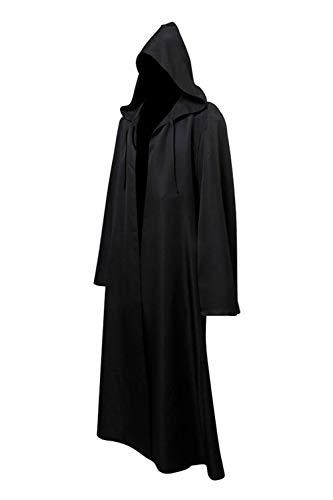 Cabo de Guerrera Medieval con Capucha Disfraz de Monje Vintage Disfraz de Star Negro, S