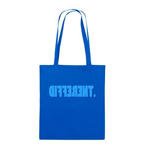 Comedy Bags - DIFFERENT - gespiegelt - Jutebeutel - lange Henkel - 38x42cm - Farbe: Schwarz / Silber Royalblau / Blau