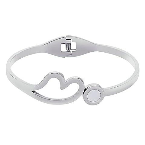AnaZoz Bracelet Cuff Acier Inoxydable pour Femme Open Cœur Link with Round Cristal Argent