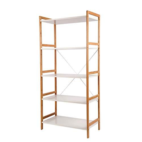 Regal Standregal Wandregal mit 5 Ablagen für Bücher und Decoartikeln - stilvoller Möbel für Wohnzimmer Büro etc. - Bücherregal Holz-5-regal