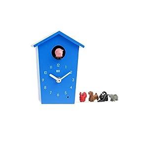 KOOKOO AnimalHouse Blau, Moderne kleine Kuckucksuhr mit 5 Bauernhoftieren, Aufnahmen aus der Natur Moderne witzige…