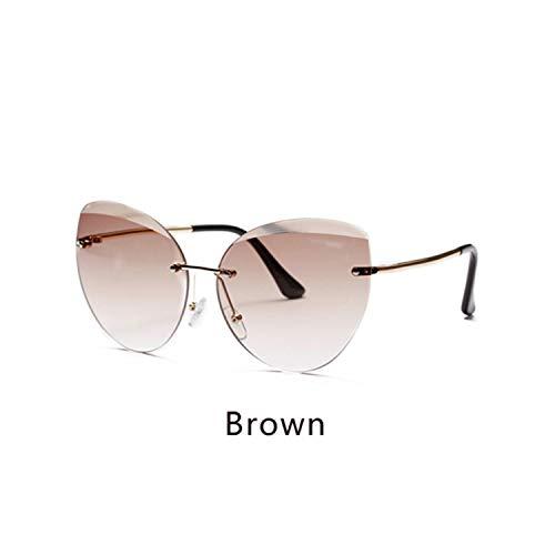 FGRYGF-eyewear2 Sport-Sonnenbrillen, Vintage Sonnenbrillen, NEW Sunglasses Women Cat Eye Rimless Sun Glasses UV400 Gray Gradient Shades Eyewear Accessories Female Oculo W2299 Brown