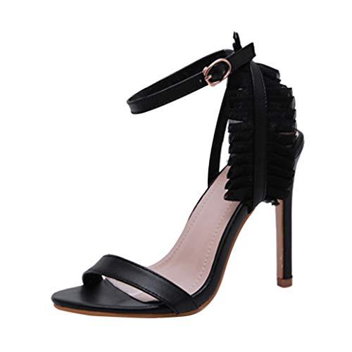 Sunnywill tacchi alti arruffati femminili sandali aperti con tacco e fibbia con fibbia e sandali con tacco alto, blu, nero