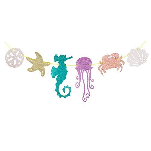ashell Banner Seahorse Seashell Quallen Krabbe Sea Star Glitter Banner Für Kinder Geburtstags-Party-Dekoration ()