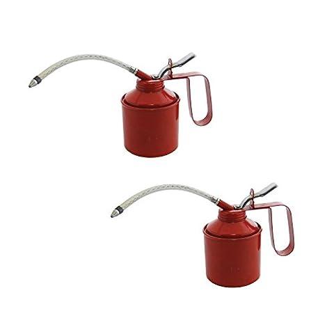 2 x 560ml (1 Pint) Oil Can Tin Pump Flexible Spout Handle Metal Lubricant Garage.