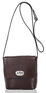 italienische Damen Umhängetasche Madrid aus echtem Leder in schoko braun, Made in Italy, Handtasche 20x19cm