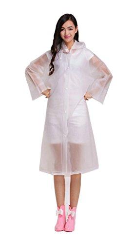 ColorRain Portatile Impermeabile Poncho Cappotto da Pioggia con Cappuccio e Maniche (M, Bianco)