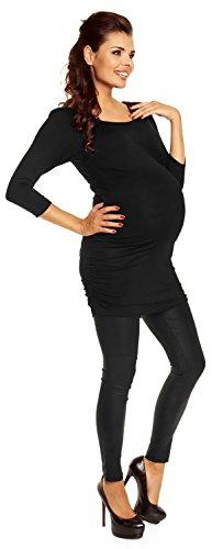 Zeta Ville Maternité - Shirt Top Tunique Grossesse Mini robe - femme - 973c Noir