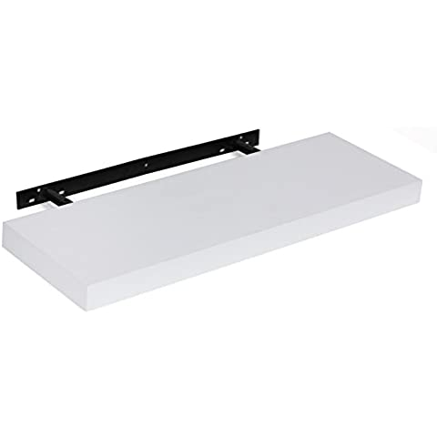 Songmics Estante flotante recto Balda de pared para libros CDs artesanías 60 x 20 x 3,8 cm Blanco